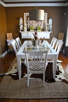 wall colors, dining rooms, rug, table makeover, dine room, room layouts, dining room tables, color pallets, dining tables