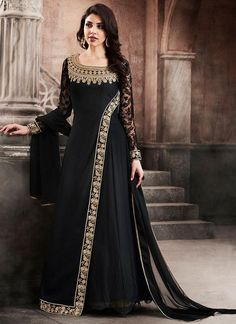 Black Full Sleeve Abaya Style Suit in Georgette