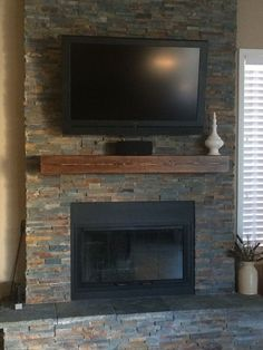 Fireplace mantel Long x Tall x Deep Floating Mantel. Home Decor. Rustic Home Decor Fireplace Remodel, House Design, Floating Mantel, Family Room, Home, Fireplace Surrounds, New Homes, Fireplace Mantels, Fireplace