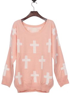 To find out about the Pink Round Neck and White Cross Pattern Jumper Sweater at SHEIN, part of our latest Sweaters ready to shop online today! Pastel Goth Fashion, Pastel Punk, Pastel Grunge, Girly, White Crosses, Cross Patterns, Kawaii Clothes, Cute Fashion, Fashion Ideas