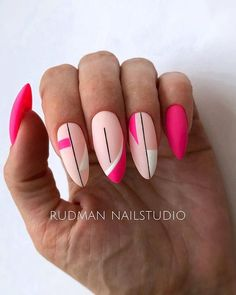 Hot Almond Shaped Nails Colors To Get You Inspired To Try - Nail Shapes Ideas - Nagellack Design, Almond Shape Nails, Almond Nail Art, Geometric Nail, Minimalist Nails, Pretty Nail Art, Best Acrylic Nails, Dream Nails, Stylish Nails