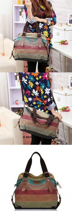Bagail Women Casual Stripe Canvas Contrast Color Multi-pocket Handbag Shoulder Bag