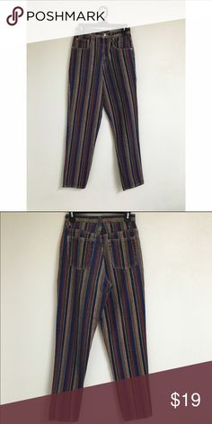 """Multi-color striped denim jeans! Cute vintage jeans! 13&1/2"""" lying across flat. Let me know if you need more measurements! LISTED UNDER UO FOR EXPOSURE Urban Outfitters Jeans"""