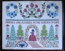 """Gorgeous Embroidered Cottage Garden Picture Framed Shabby Chic 18""""x 22"""""""