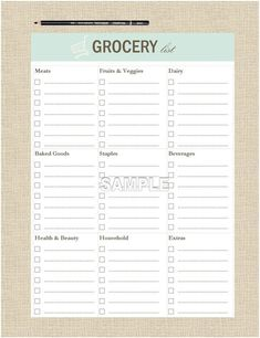 This A5 sized Grocery List is designed by a Professional Organizer is based on over 10 years of working with clients to help them with their organizing challenges. It can be printed as often as you like to fit in a small binder, Filofax, Daytimer, Arc or Levenger product. This list works great in conjunction with our meal planning list as well as our freezer, fridge, and pantry inventory lists. Check out our other bundled packs that help you manage your daily tasks, time and more… Grocery List Printable, Meal Planner Printable, Weekly Meal Planner, Grocery Lists, Planner Pages, Printables, Life Planner, Organization Lists, Organization Bullet Journal