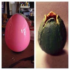 """Use giant plastic Easter Egg to create """"Alien"""" egg pod"""