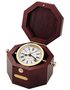 Bulova Quartermaster - Maritime Box Clock - Solid Wood Chest - Brass Case