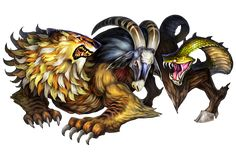 the chimera kɨˈmɪərə or kaɪˈmɪərə also chimaera Mythological Creatures, Fantasy Creatures, Mythical Creatures, High Fantasy, Medieval Fantasy, Fantasy Art, Aliens, Dragons Crown, Monster Design