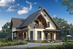 Wall Modern Bungalow House, Bungalow Homes, Modern House Plans, Self Build Houses, Attic House, Small Cottages, American Houses, House With Porch, Dream House Exterior