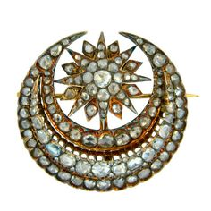 Georgian, Rose Cut Diamond And Gold Crescent Brooch Mounted In 22k Gold c. 1790 - thumbnail 1
