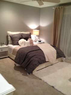 grey, beige, white -- calming colors for a bedroom.