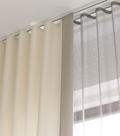 Gallery the Shade Store Ripple Fold Drapery Modern Curtain Track – Gaeli Modern Curtains With Blinds, Ceiling Mounted Curtains, Curtains Living Room, Ceiling Mounted Curtain Track, Ceiling Curtains, Modern Curtains, Curtains, Modern Window Treatments, Ripplefold Draperies