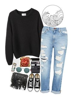 """""""Untitled #2466"""" by sisistyle ❤ liked on Polyvore featuring La Garçonne Moderne, Genetic Denim, Converse, Impossible, Proenza Schouler and Ray-Ban"""