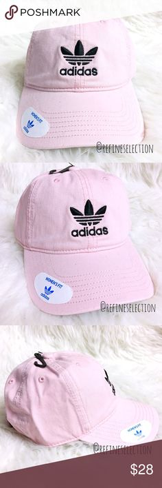 adidas Originals Pink Black Relaxed Strapback Cap Brand new. This adidas Originals Pink and Black Relaxed Strapback Cap Dad Hat is so classic and on trend right now! Love the feminine pink with the adidas trefoil logo embroidered in black on the front and back. Adjustable strapback for the perfect fit. This cap is specifically designed for a Women's fit! adidas Accessories Hats