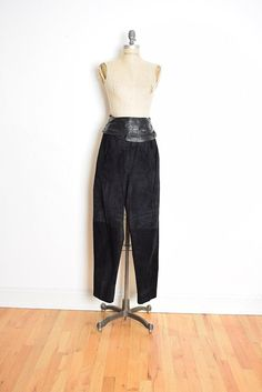 43ca51dea8 80s leather pants, black leather pants, black suede pants, draped leather  high waisted pants leather