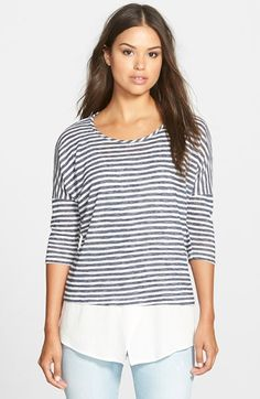 Bobeau Layered Look Stripe Top available at #Nordstrom