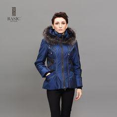 BASIC EDITIONS Fashion Womens Winter Jackets and Coats Raccoon Fur Collar Hooded Cotton Warm Slim Jackets Z08075