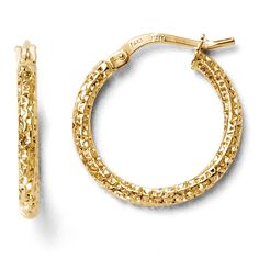 Leslie's 14k Polished and Textured Hoop Earrings
