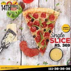 One Slice is a Meal! :) #14thStreetPizza #OriginallyYours #NewLook  Call Now 111-36-36-36 or Visit www.14thstreetpizza.com