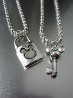 DISNEY MICKEY - Loving Lock and Key Set - His and Hers . U Choose Necklaces - Wedding - Anniversary - Couple - Love - Steampunk  etsy.com $12.25