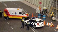 España. Escala H0.  Operativo de la Policía Municipal de Madrid y del SAMUR.