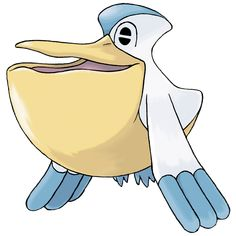 Pelipper - 279 - It dips its large bill in the sea, then scoops up numerous prey along with water. It is a messenger of the skies, carrying small  Pokémon and eggs to safety in its bill.  @PokeMasters