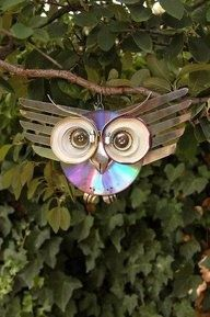 how to make metal owl recycle | ... Reuse Renew Mother Earth Projects: How to make a Recycled CD Owl