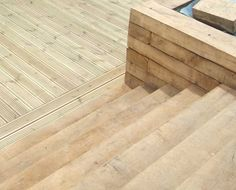 Nigel and Julie Sussex's decking project with railway sleeper steps and retaining wall