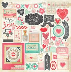 Crate Paper LOVE NOTES 12x12 Chipboard Accents by LaPetiteFeuille, $5.49