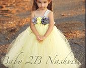 Flower Girl Dress in Yellow and Silver 5-6T. $103.00, via Etsy.