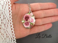 Gentle romantic set with roses from polymer clay. Pendant and cloves. Will make to order. Clay is durable, not afraid of water. Accessories made of costume jewelery alloy.