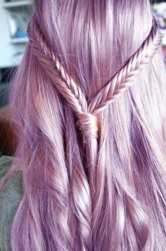 Half-up/half-down braid. #ColorIntensity #RockCandy #LightPurple