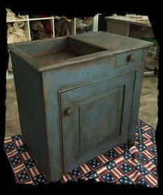 Picture by Melissa K.The Wooden Nail Nice dry sink. Primitive Cabinets, Primitive Kitchen, Primitive Furniture, Primitive Antiques, Recycled Furniture, Antique Furniture, Painted Furniture, Primitive Homes, Primitive Country