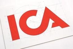 ICA logo for Swedish supermarket. Web Design, Graphic Design Art, Icon Design, Logo Branding, Branding Design, Logo Guidelines, Supermarket, Pixel Image, Types Of Lettering