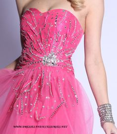 front of the short pink prom dress