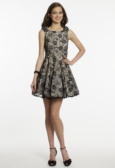 Short Lace Two-Tone Dress with V-Back by Camille La Vie & Group USA