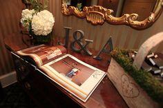 wedding guestbook, bride and groom's initials as wedding decor
