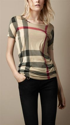 Burberry Classic Plaid T-shirt For Women in 93119, cheap Burberry Women's T-shirts, only $21!
