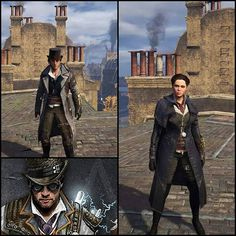 Evie and Jacob rocking their suave/nighthawk outfits. Assassins Creed Syndicate