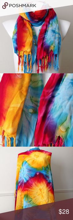 "🆕 Rainbow tie dye wrap/scarf Large shawl/scarf/wrap in rainbow tie dye. 47"" X 62"". Like New condition. Accessories Scarves & Wraps"