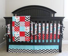 Custom Crib bedding  Red Black and Aqua Retro by GiggleSixBaby