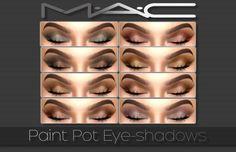 Make Up: Paint Pot Eyeshadows from MAC cosimetics Beginner Eyeshadow, Eyeshadow Tutorial For Beginners, Sims 4 Mac, Sims Cc, The Sims, Eyeshadow For Brown Eyes, Matte Eyeshadow, Sims 4 Cc Kids Clothing, Sims 4 Gameplay