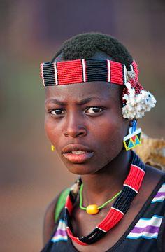 Africa | Hamer girl. Omo Valley, Ethiopia | ©Dionys Moser
