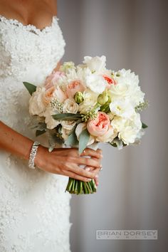 Elegant pink  white bouquet. See the wedding on #smp here: http://www.StyleMePretty.com/tri-state-weddings/2014/04/14/urban-wedding-at-steiner-studios/ Photography:  BrianDorseyStudios.com