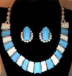 West Germany Blue Acrylic Beaded Choker Necklace & Earrings, Demi Parure, Vintage Costume Jewelry by Snowyowltreasures on Etsy