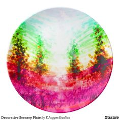 Choose from a variety of Decorative plate designs or create your own! Shop now for custom plates & more! Browse our pre-existing designs or create your own on Zazzle today! Plates For Sale, Plate Design, Scenery, Romantic, Creative, Artist, Gifts, Landscape, Decor