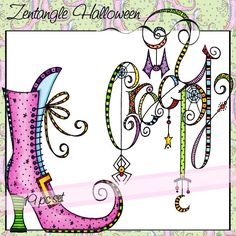 Zentangle Halloween is a 19 piece set of Halloween watercolor images. Tangle Doodle, Tangle Art, Zen Doodle, Doodle Art, Zentangle Drawings, Doodles Zentangles, Doodle Drawings, Doodle Lettering, Creative Lettering