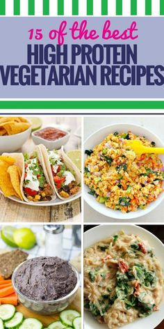 If you re ing a vegetarian diet, you need to take special care to ensure you get enough protein. From breakfast to dinner, make every meal healthy with these simple recipes. Clean Eating Vegetarian, High Protein Vegetarian Recipes, Vegetarian Recipes Dinner, Diet Recipes, Vegan Recipes, Healthy Eating, Protein Recipes, Healthy Protein, Protein Power