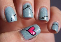 Blue pink heart Valentine's nails