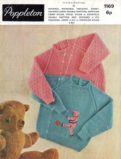 Toddlers and Childrens Jumper Knitting Patterns, Poppleton 1169, childrens picture jumpers, bear jumper patterns, vintage jumper patterns